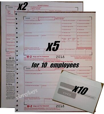 2018 IRS TAX FORMS KIT:: W-2 Wage Stmts CARBONLESS 10 employees+Envelopes+(2)W-3