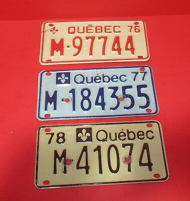 3 Quebec Canada Motorcycle License Plate 1976, 1977 & 1978
