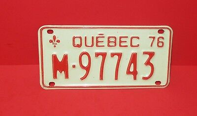 1976 Quebec Canada Motorcycle License Plate M-97743