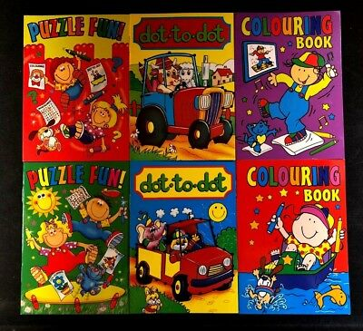 6x CHILDRENS KIDS PUZZLE COLOURING ACTIVITY TRAVEL FUN BOOKS DOT TO DOT PUZZLE