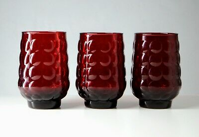 3 X Mid Century Royal Ruby Anchor + Hocking Bubble Tumblers / Glasses - Red, MCM