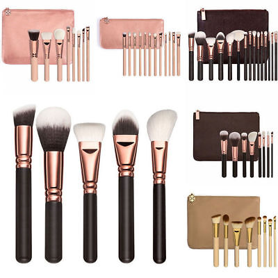 15pcs Professional Soft Cosmetic Eyebrow Shadow Makeup Brush Set Kit Pouch Bag