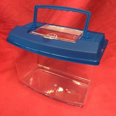 """Plastic Carrying Box 10 x 7"""" Removeable Vented Lid Transport Vets Mices Hamsters"""
