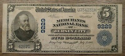 1902 $5 PB Jersey City NJ Merchants National Bank Note VF Nice!