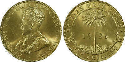 1936-KN British West Africa Shilling PCGS SP65 - Ex Rare Kings Norton Mint Proof