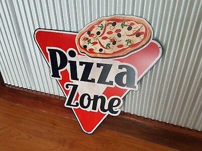 Pizza Zone metal tin sign Take away shop