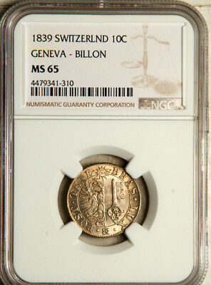 Ngc Ms-65 Geneva (Switzerland) 10 Centimes 1839 (Only 2 Graded Higher) Pop: 3/2