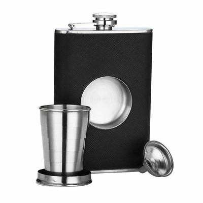 5X(Stainless Steel 8 oz Hip Flask Built-in Collapsible 2 Oz Shot Glass Flas H2J0
