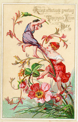 Fairy Sprites on Wild Rose Branch Antique Victorian Christmas Card