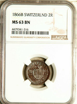 Ngc Ms-63 Switzerland 2 Rappen 1866 (Undergraded Beauty!)