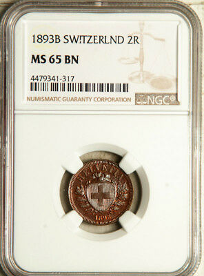 Ngc Ms-65 Switzerland 2 Rappen 1893 (Mirror-Like Highest Graded Gem!) Pop: 1/0