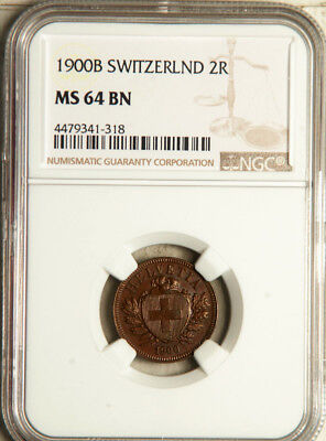 Ngc Ms-64 Switzerland 2 Rappen 1900 (Scarce Date! Only 2 Graded Higher) Pop: 1/2