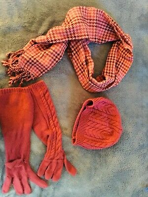 Talbots Set of Magenta Winter Hat, Gloves and Scarf