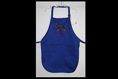 Rottweiler Dog Embroidered On A Royal Blue Apron (other colors available)
