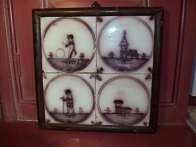 17th-18th Century Manganese Tile (4) Probably Dutch