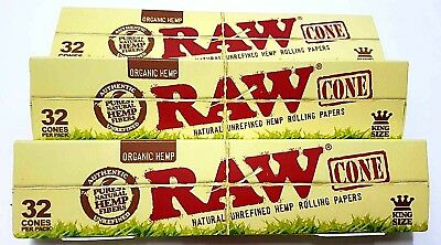 3 Packs X 32 = 96 Pcs RAW Organic Hemp, King Size Pre Rolled Cones Rolling Paper