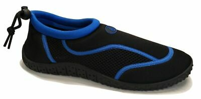Mens Summer Aqua Shoe Sock Black and Blue Beach Water Rocks Size 7-12