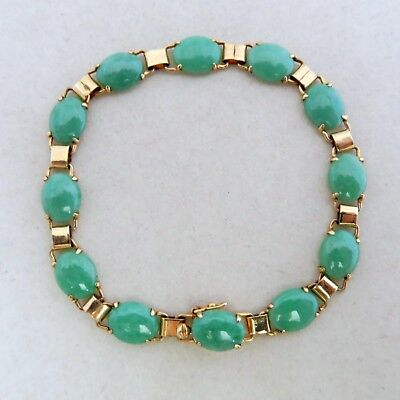 "6.8"" Vintage Chinese 14K Yellow Gold Bracelet w/ Green Jadeite Jade  (7.7 grams)"