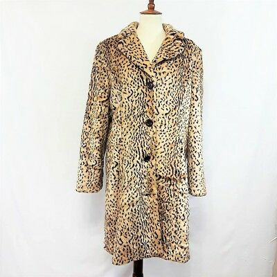 Pre-owned!  Liz Claiborne Winter Faux Fur Coat Jacket Animal Print, Size L