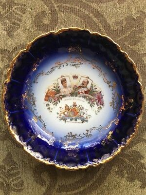 Antique Commemorative Queen Alexandra And King Edward Porcelain Charger