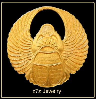 """WINGED SCARAB Pin - 1 3/4"""" wings amulet beetle egypt ancient aliens jewelry z7qq"""