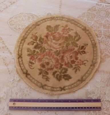 "French Vintage Faded Cotton Velvet Pink Roses Center Mat c1940s-1950s~12"" Round"