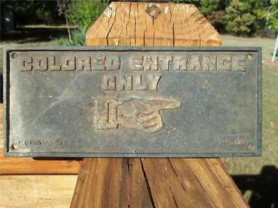 1932 Cast Iron Sign Colored Entrance Only Black Americana Segregation
