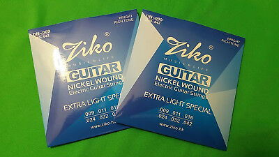(x2) Electric Guitar ZIKO DN-009 Nickel Wound Extra Light Special .009-.042  HQ