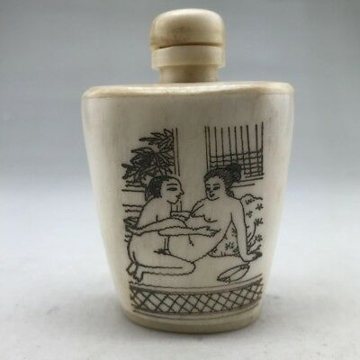 Chinese Ancient Bone Handmade Carved Human Body Art Snuff Bottle