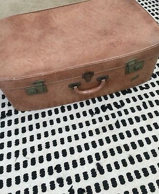 Vintage retro 1960s Regal large brown suitcase