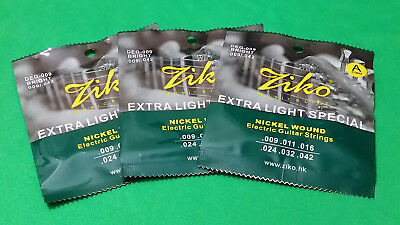 (x3) Electric Guitar ZIKO DEG-009 Nickel Wound Extra Light Special .009-.042  HQ