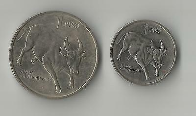 Pair of Piso coins with Tamaraw Bull & Jose Rizal Philipines different sizes