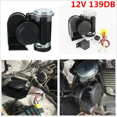 12V 139DB Motorcycle Car Dual Tone Trumpet Super Loud Electric Air Horn Compact