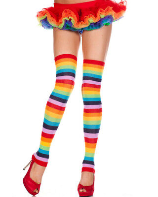 Rainbow Striped Footless Leg Warmers One Size