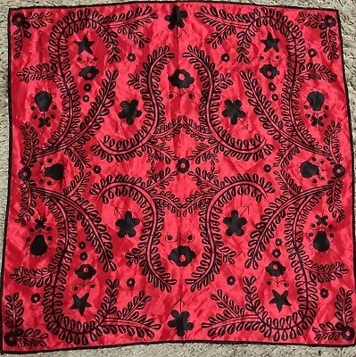vintage Christian la Croix red Scarf 68cm square black For Avon Parfums vgc