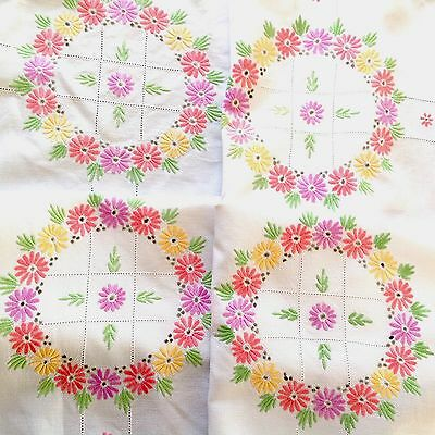 VINTAGE HAND EMBROIDERED  WHITE LINEN Colourful TABLECLOTH 34X34 INCHES