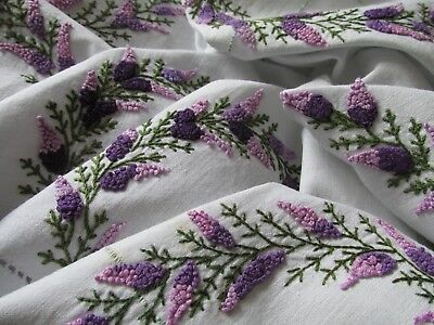 Beautiful Vintage Hand Embroidered Tablecloth-EXQUISITE FRENCH KNOT LAVENDER