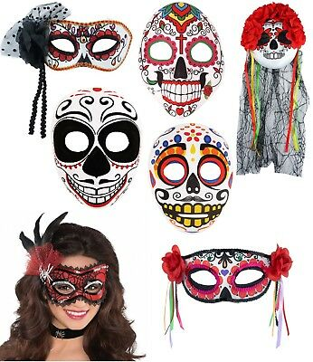 Halloween Day Of The Dead Face,Eye Mask Mexican Dias Sugar Skull Half Mask Veil