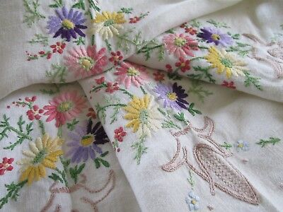 Vintage Hand Embroidered Linen Tablecloth-BEAUTIFUL FLORAL
