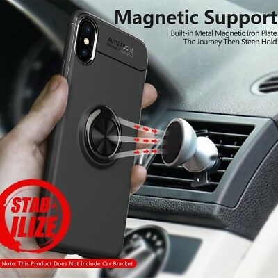 Shockproof Magnetic Case Cover With Car Ring Holder Buckle For iPhone Xs Max X 8