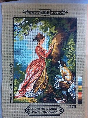 Unworked Tapestry - Crinoline Lady with dog
