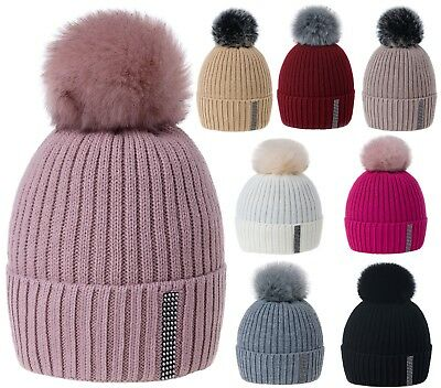 Kids Winter Beanie Hat Small Crystals Girls Children Knitted Girl Hats Pom Pom