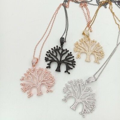 1pc 32x42mm gold plated  Cz micro tree of life  Charm Pendant  Jewelry Findings