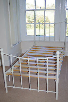 Victorian antique-style, steel, single bed frame and base