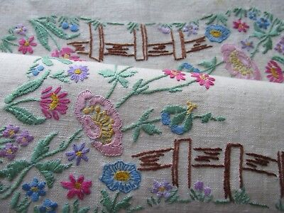 Vintage Hand Embroidered Tray cloth Panel-BEAUTIFUL FLORAL'S & FENCING