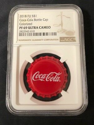 2018 Fiji Coca-Cola Bottle Cap $1 6g Silver Proof NGC PF69 Ultra Cameo