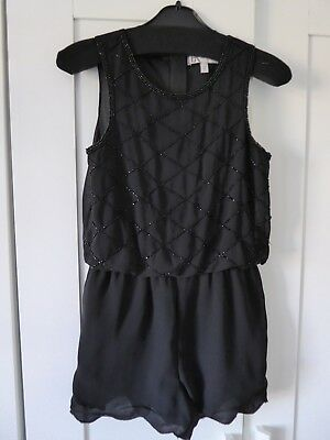 Girls BHS Black Beaded Playsuit 8/9yrs - Perfect for Parties!