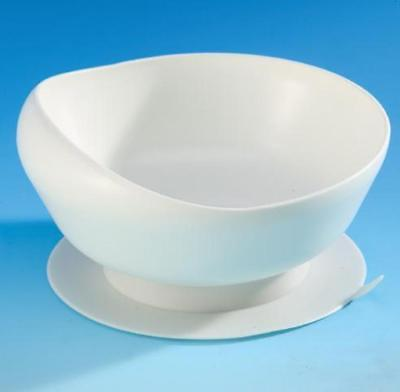 White Non-Slip SCOOP BOWL with Suction Base,