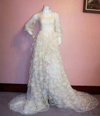 Vtg Late 50S Early 60S High End Tiered Lace Wedding Dress  Excellent Cond. Sm