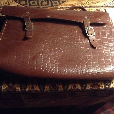 Vintage brown leather school satchel